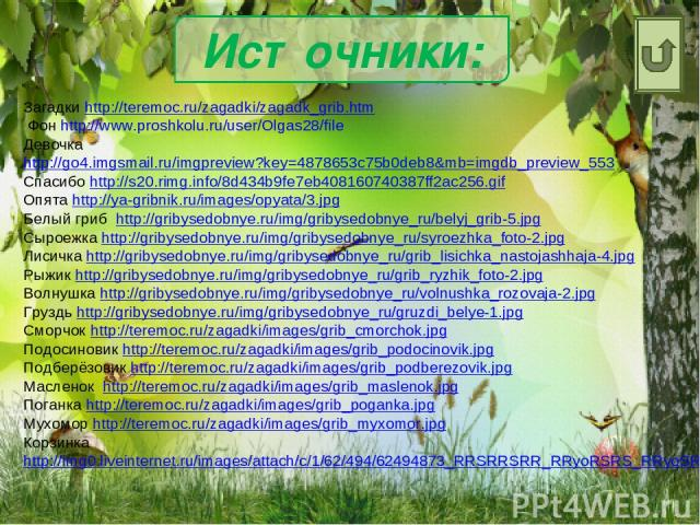 Источники: Загадки http://teremoc.ru/zagadki/zagadk_grib.htm Фон http://www.proshkolu.ru/user/Olgas28/file Девочка http://go4.imgsmail.ru/imgpreview?key=4878653c75b0deb8&mb=imgdb_preview_553 Спасибо http://s20.rimg.info/8d434b9fe7eb408160740387ff2ac…