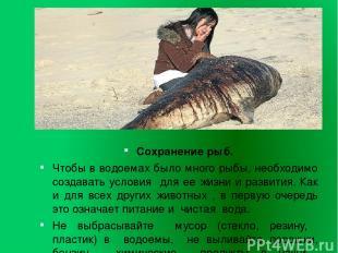 Сохранение рыб. Чтобы в водоемах было много рыбы, необходимо создавать условия д