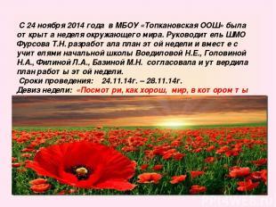 С 24 ноября 2014 года в МБОУ «Топкановская ООШ» была открыта неделя окружающего