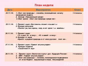 План недели Дата Мероприятие Класс 24.11.14г. 1.«Знатоки природы» - линейка, пос