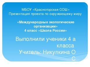 МБОУ «Красногорская СОШ» Презентация проекта по окружающему миру «Международные