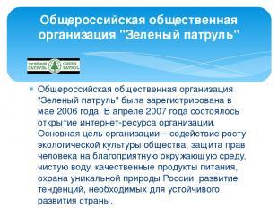 """Общероссийская общественная организация """"Зеленый патруль"""" была зарегистрирована"""