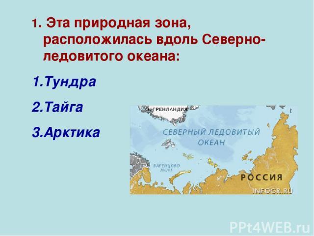 1. Эта природная зона, расположилась вдоль Северно-ледовитого океана: Тундра Тайга Арктика