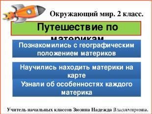 Окружающий мир. 2 класс. Учитель начальных классов Зюзина Надежда Владимировна.
