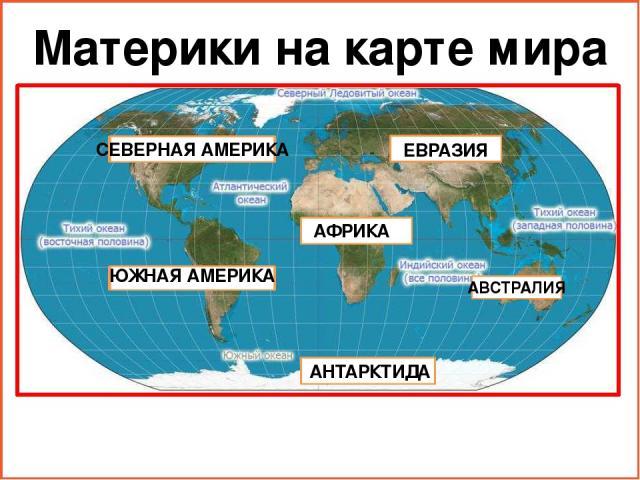 Материки на карте мира ЕВРАЗИЯ СЕВЕРНАЯ АМЕРИКА ЮЖНАЯ АМЕРИКА АВСТРАЛИЯ АФРИКА АНТАРКТИДА
