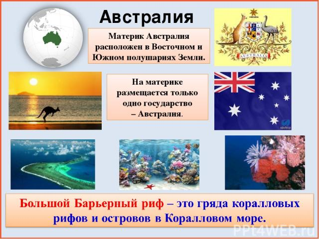 Материк Австралия расположен в Восточном и Южном полушариях Земли. Австралия На материке размещается только одно государство – Австралия.