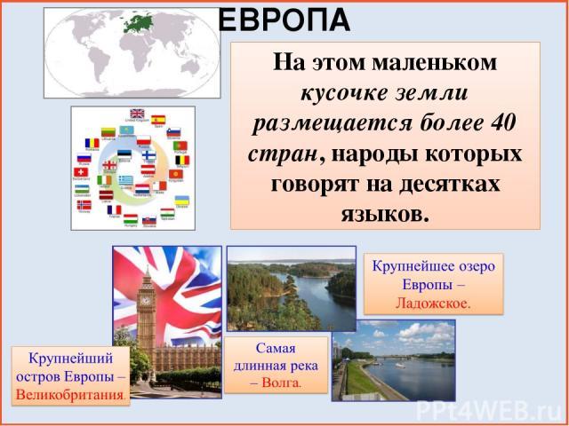 ЕВРОПА На этом маленьком кусочке земли размещается более 40 стран, народы которых говорят на десятках языков.