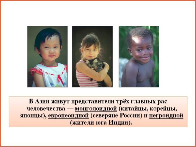 В Азии живут представители трёх главных рас человечества — монголоидной (китайцы, корейцы, японцы), европеоидной (северяне России) и негроидной (жители юга Индии).