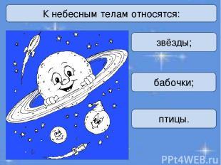 К небесным телам относятся: звёзды; бабочки; птицы.