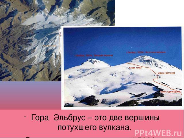 Гора Эльбрус – это две вершины потухшего вулкана. Восточная вершина высотой 5621 м, Западная -5642 м.