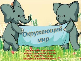 Презентацию подготовила учитель начальных классов МОУ «СОШ №1»г.Емвы Макарова Ел