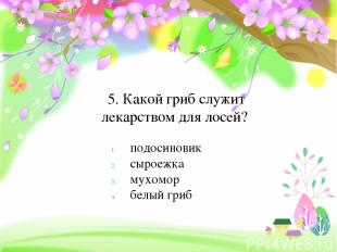 5. Какой гриб служит лекарством для лосей? подосиновик сыроежка мухомор белый гр
