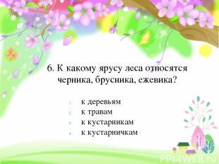 6. К какому ярусу леса относятся черника, брусника, ежевика? к деревьям к травам