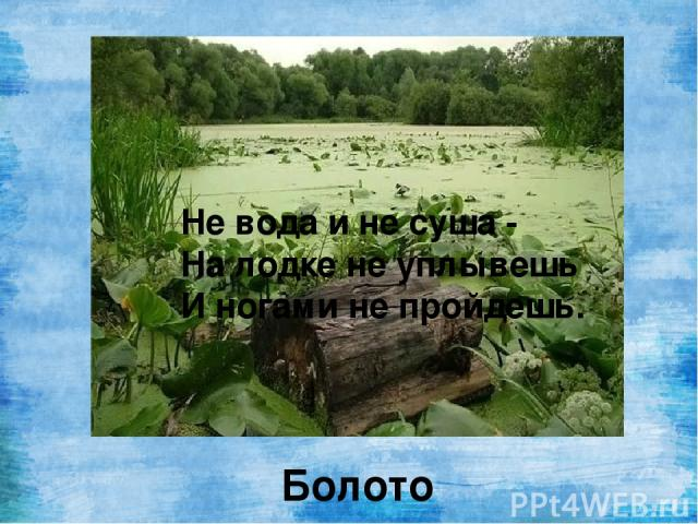 Не вода и не суша - На лодке не уплывешь И ногами не пройдешь. Болото
