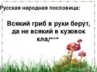Всякий гриб в руки берут, да не всякий в кузовок кладут. Русская народная послов
