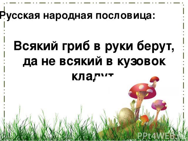 Всякий гриб в руки берут, да не всякий в кузовок кладут. Русская народная пословица: