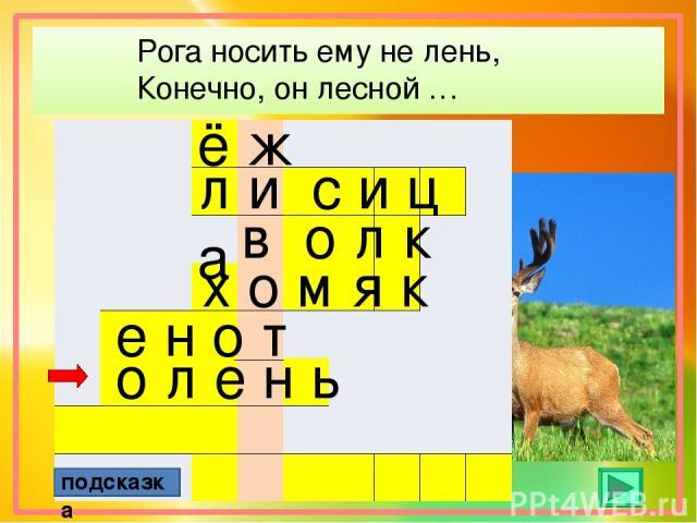 Рога носить ему не лень, Конечно, он лесной … ё ж подсказка л и с и ц а в о л к х о м я к е н о т о л е н ь