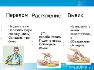 Перелом Не двигать ся Наложить тугую повязку (шину) Охладить при боли Растяжение