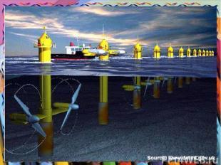Энергия моря. На пути прилива строится плотина или дамба. Вода, протекая через у