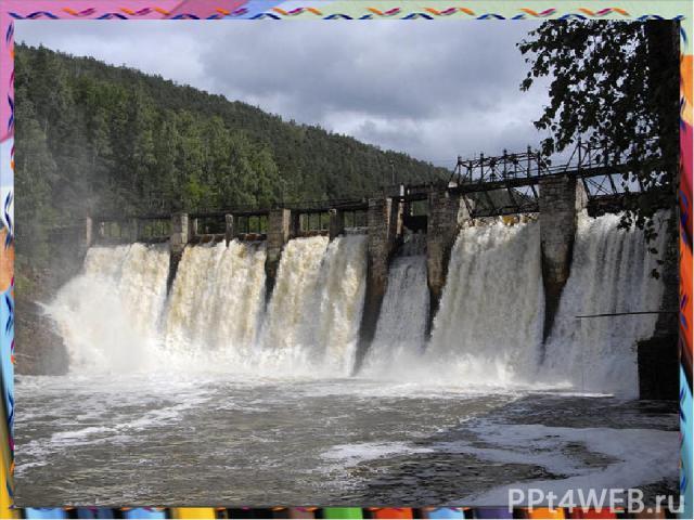 Гидроэлектростанции Электричество вырабатывается, когда вода приводит в движение генерирующие ток турбины, протекая через них в нижней части дамбы.