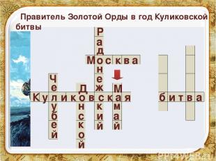 К у л и к о в с к а я б и т в а е е у б Ч й Д н с к о й Правитель Золотой Орды в