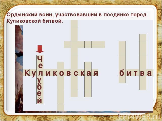К у л и к о в с к а я б и т в а е е у б Ч й Ордынский воин, участвовавший в поединке перед Куликовской битвой.                                                                      …