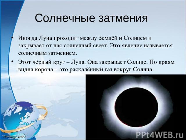 Солнечные затмения Иногда Луна проходит между Землёй и Солнцем и закрывает от нас солнечный свеет. Это явление называется солнечным затмением. Этот чёрный круг – Луна. Она закрывает Солнце. По краям видна корона – это раскалённый газ вокруг Солнца.