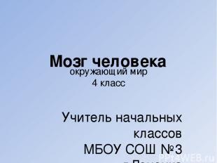 окружающий мир 4 класс Учитель начальных классов МБОУ СОШ №3 г.Донецка Терещенко