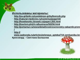 Использованы материалы: http://ya-gribnik.ru/syedobnye-griby/borovik.php http://