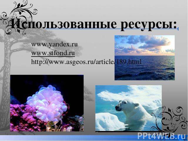 Использованные ресурсы: www.yandex.ru www.stfond.ru http://www.asgeos.ru/article/189.html