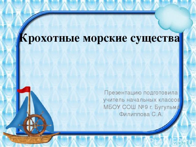Крохотные морские существа Презентацию подготовила учитель начальных классов МБОУ СОШ №9 г. Бугульма Филиппова С.А.
