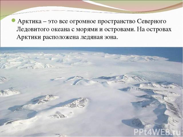 Арктика – это все огромное пространство Северного Ледовитого океана с морями и островами. На островах Арктики расположена ледяная зона.