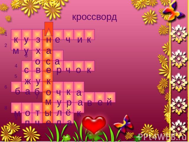 кроссворд к у з ч е н и к м у х а о с а с в е р ч о к у к ж б а б о ч к а м у р а в е й м о т ы л ё к т п ч е л а 1 2 3 4 5 6 7 8 9