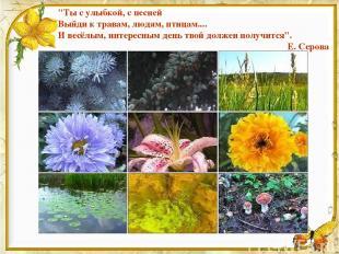 """""""Ты с улыбкой, с песней Выйди к травам, людям, птицам.... И весёлым, интересным"""
