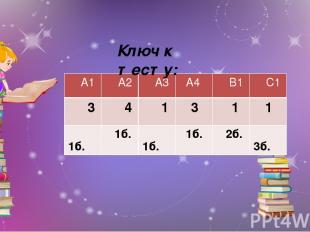 Ключ к тесту: А1 А2 А3 А4 В1 С1 3 4 1 3 1 1 1б. 1б. 1б. 1б. 2б. 3б.