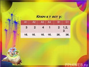 Ключ к тесту: А1 А2 А3 А4 В1 С1 3 2 4 1 2 1,2,3 1б. 1б. 1б. 1б. 2б. 3б.