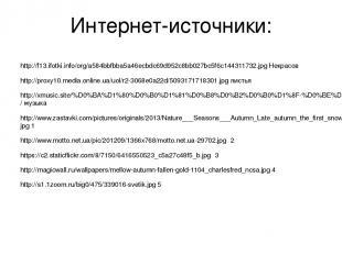 Интернет-источники: http://f13.ifotki.info/org/a584bbfbba5a46ecbdc69d952c8bb027b
