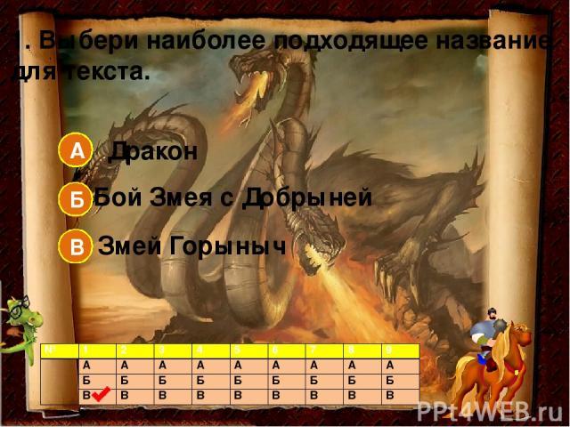 А Б В 1. Выбери наиболее подходящее название для текста. Дракон Бой Змея с Добрыней Змей Горыныч № 1 2 3 4 5 6 7 8 9  А А А А А А А А А Б Б Б Б Б Б Б Б Б В В В В В В В В В
