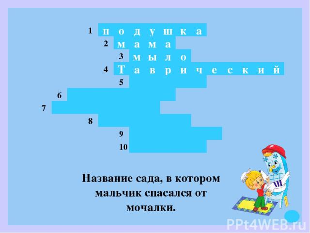 д у о п ш к а ы м в а м а м л о а Т р и ч е с к и й 1 2 3 4 5 6 7 8 9 10 Название сада, в котором мальчик спасался от мочалки.