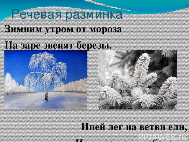 Речевая разминка Зимним утром от мороза На заре звенят березы. Иней лег на ветви ели, Иглы за ночь побелели.