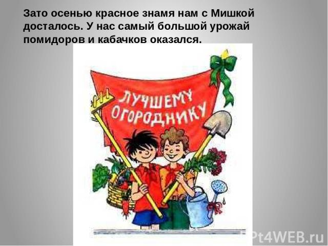 Зато осенью красное знамя нам с Мишкой досталось. У нас самый большой урожай помидоров и кабачков оказался.