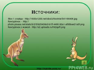 Источники: Фон 1 слайда - http://1600x1200.net/oboi/zhivotnie/541166406.jpg Кенг