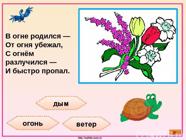 дым огонь ветер В огне родился — От огня убежал, С огнём разлучился — И быстро пропал. http://mykids.ucoz.ru/