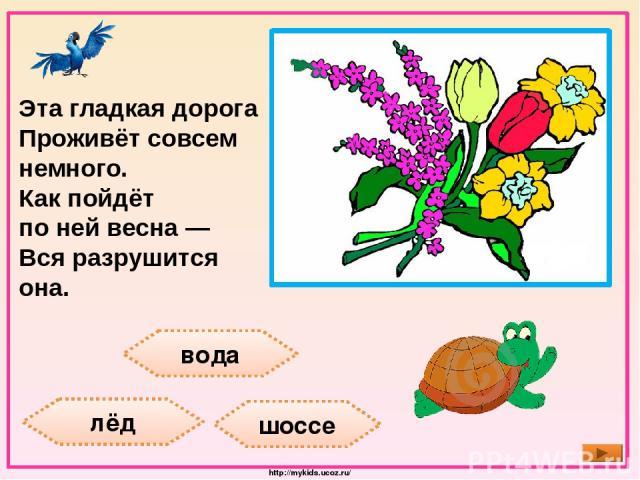 вода лёд шоссе Эта гладкая дорога Проживёт совсем немного. Как пойдёт по ней весна — Вся разрушится она. http://mykids.ucoz.ru/