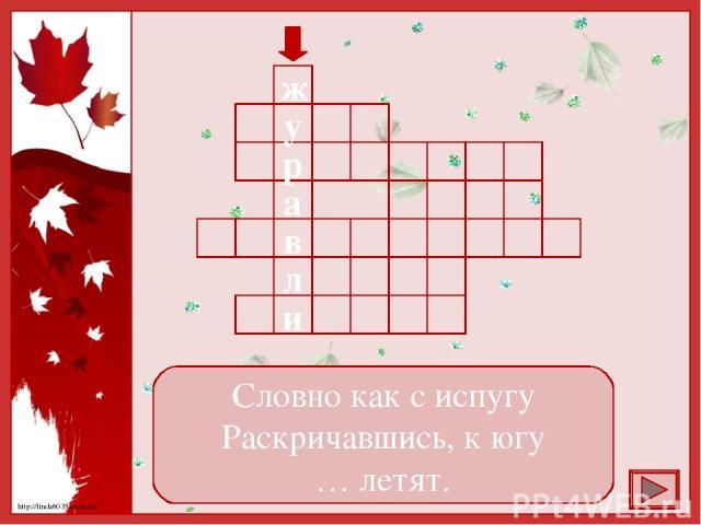 Словно как с испугу Раскричавшись, к югу … летят. в а р у ж л и http://linda6035.ucoz.ru/