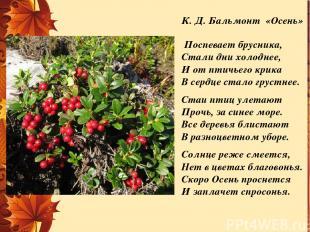 К. Д. Бальмонт «Осень» Поспевает брусника, Стали дни холоднее, И от птичьего кри