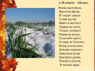 А Плещеев «Осень»  Осень наступила, Высохли цветы, И глядят уныло