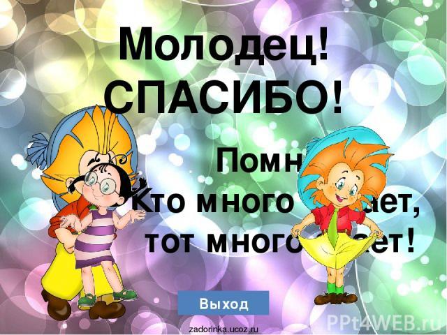 Выход Молодец! СПАСИБО! Помни! Кто много читает, тот много знает! zadorinka.ucoz.ru
