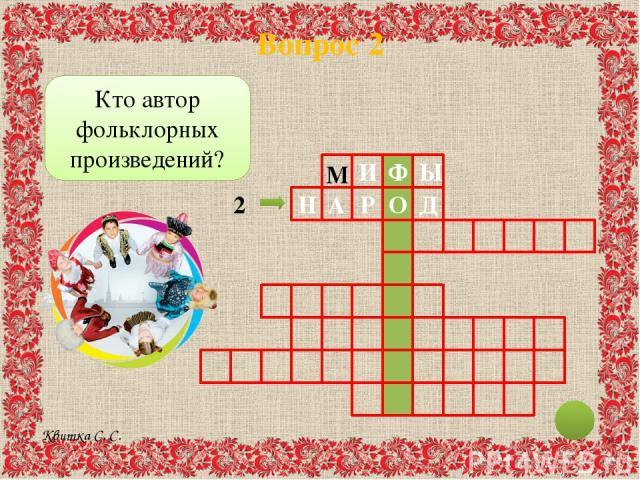 Вопрос 2 И Ф Ы Н Д О Р А Кто автор фольклорных произведений? 2 М Квитка С. С.