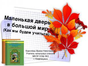 Маленькая дверь в большой мир (Как мы будем учиться) Королёва Ирина Николаевна У